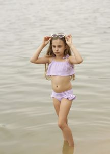 Swimsuit FRILL lilac 2-pcs